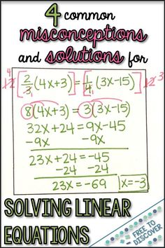 Do you have Algebra students struggling with solving linear equations? Read about 4 common misconceptions and solutions to aid in student understanding. Ideas include undoing the operation versus combining like terms, zero solution versus no solution, and Solving Linear Equations, Systems Of Equations, Online Math Courses, Combining Like Terms, Math Help, Learn Math, Secondary Math, 8th Grade Math, Math Classroom
