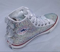 White High Top Sequin Bow Sparkled AB Rhinestone Crystal Converse Wedding Prom Source by heleenjvn Converse Shoes On Sale, Cute Converse, Converse Wedding Shoes, Prom Shoes, Converse Sneakers, Converse Chuck, Kids Converse, Wedding Sneakers, Bedazzled Converse