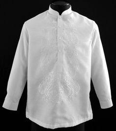 How to Buy White Barong Tagalog - Barongs R us - Barongs R us Barong Tagalog, Filipiniana Dress, Philippines Fashion, Line Shopping, Mandarin Collar, Suits, Stylish, Military Uniforms, Monday Friday
