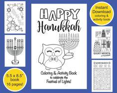 Hanukkah Printable Coloring & Activity by VividBlissPrintables Hanukkah For Kids, Feliz Hanukkah, Hanukkah Crafts, Color Activities, Holiday Activities, U Book, Book Festival, Festival Lights, Printable Coloring