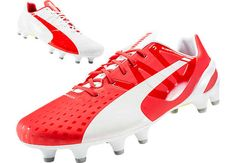 Puma evoSPEED 1.3 FG Soccer Cleats - White and Red...available at SoccerPro.
