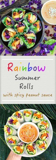 Rainbow Summer Rolls with Spicy Peanut Sauce | vegan