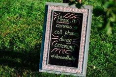 No cell phone sign for wedding ceremony. Eco-Friendly Modern Interfaith Wedding | Modern Jewish Wedding Blog