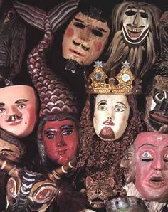 GROUP OF MEXICAN MASKS FROM THE CORDRY COLLECTION    Dates: 1950-1970 - in the USA it is hard to imagine the current use of these dance masks but the dances are real & meaningful - for more on Mexico visit www.mainlymexican.com #Mexico #Mexican #mask