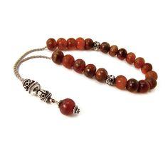 Greek Komboloi Worry Beads Red Horn Beads by sunnybeadsbythesea