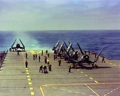 F4U-4 Corsair fighters of US Navy squadron VF-874 aboard USS Oriskany off southern California, United States