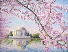 Jefferson Memorial Cherry Blossoms Painting by Patty Kay Hall