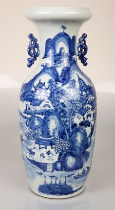 Chinese Qing White And Blue HU Porcelain Vase