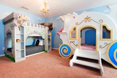 Imagine the fun your kids will have in this princess/castle themed room with custom-built bunk beds!