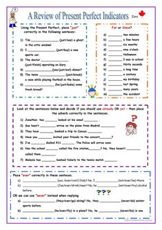 Present Perfect Indicators worksheet - Free ESL printable worksheets made by teachers English Teaching Materials, Teaching English Grammar, English Grammar Worksheets, Grammar And Vocabulary, Teacher Worksheets, Printable Worksheets, Present Perfect Spanish, Present Perfect Tense Exercises, Conjugation Chart