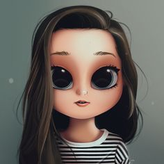 Cartoon, Portrait, Digital Art, Digital Drawing, Digital Painting, Character Design, Drawing, Big Eyes, Cute, Illustration, Art, Girl