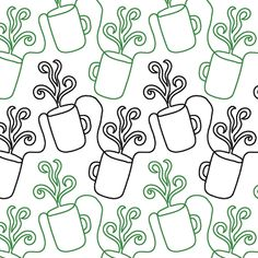 """Coffee Time - Paper - 10"""" - Quilts Complete - Continuous Line Quilting Patterns"""