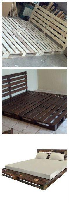 Veja só como é simples fazer um cama de palete rústica e prática! E só precisa de 6 paletes de madeira! Pallet Bedframe, Pallet Beds, Pallet Furniture, Bed Frame Pallet, Pallet Patio, Wood Headboard, Kids Pallet Bed, Floor Bed Frame, Furniture Ideas