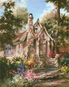 Cottage of Carmel By The Sea ~ Painted By Marty Bell Storybook Cottage, Cottage Art, Paintings I Love, Beautiful Paintings, Pintura Colonial, Belle Image Nature, Thomas Kinkade Art, Kinkade Paintings, Art Et Nature