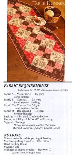 ".Double 4-Patch Table Runner.  Finishes 24"" x 55"".  A lot of other table runner, table mats, placemats, etc. patterns on this site."