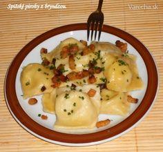 Spišské pirohy z bryndzou (fotorecept) Ravioli, Dumplings, Gnocchi, Holiday Recipes, Food And Drink, Eggs, Menu, Bread, Cooking