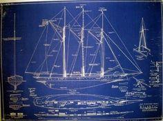 Racing Schooner Yacht Atlantic 1905 Blueprint Plan in Antiques, Maritime, Blueprints | eBay
