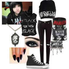 A fashion look from October 2014 featuring Sally&Circle tops, Converse sneakers and Hot Topic bracelets. Browse and shop related looks. Punk Rock Outfits, Grunge Outfits, Cute Emo Outfits, Bad Girl Outfits, Band Outfits, Scene Outfits, Teenager Outfits, Edgy Outfits, Grunge Fashion