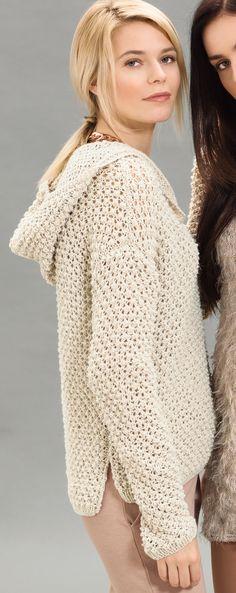 Пуловер с капюшоном Благодаря светлому песочному оттенку уютный пуловер с капюшоном и боковыми разрезами обретает изящество.  Журнал «Сабрина» № 9/2016