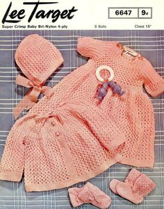 Items similar to Baby Girl Set - Dress Jacket Hat Bootees & Mitts in 4 ply Size 18 ins - Lee Target 6647 - pdf of of Vintage Knitting Patterns on Etsy Baby Girl Patterns, Baby Knitting Patterns, Crochet Patterns, Coat Patterns, Doll Clothes Patterns, Pram Sets, Knitting Dolls Clothes, Quick Knits, Baby Dress