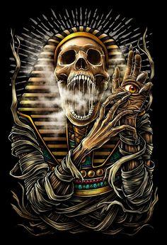 Winya No. Art Print by winya Bild Tattoos, Body Art Tattoos, Sleeve Tattoos, Indian Skull Tattoos, Egyptian Tattoo Sleeve, Anubis Tattoo, Totenkopf Tattoos, Satanic Art, Skull Pictures
