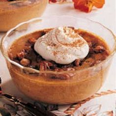 PUMPKIN CUSTARD   - pumpkin, eggs, half-and-half cream, brown sugar, pumpkin pie spice TOPPING: brown sugar, Pecans, butter,