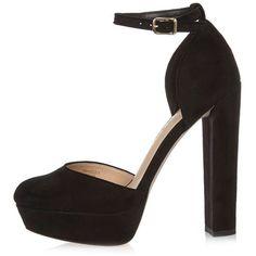 River Island Black velvet platform heels ($110) ❤ liked on Polyvore featuring shoes, sandals, black, shoes / boots, women, black shoes, round cap, high heel platform shoes, black platform sandals and high heel shoes