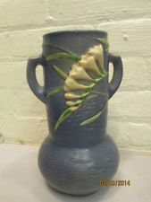 Vintage Blue Roseville Pottery Vase with Yellow Freesia Handles