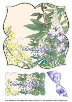 Lupin Birthday Wishes 8in Large Blooms Fancy Topper on Craftsuprint - Add To…