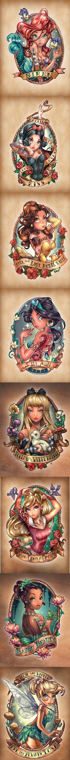 Una grandiosa ilustración de princesas Disney marineras by Tim shumate siren