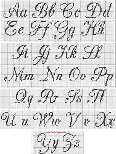 ~ Cursive Upper & Lower Alphabet with Heart Cross Stitch Pattern Yy Cross Stitch Letter Patterns, Cross Stitch Letters, Cross Stitch Borders, Cross Stitch Designs, Cross Stitching, Cross Stitch Embroidery, Cross Stitch Font, Crochet Alphabet, Embroidery Alphabet