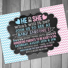 Gender Reveal Party Gender Reveal Invitation Pink by CLaceyDesign, $15.00