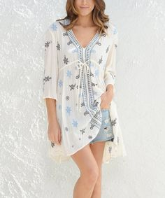 Love this Cream & Blue Embroidered Tunic on #zulily! #zulilyfinds