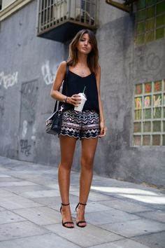 Alexandra Pereira is wearing embellished shorts from Chicwish, top from Mango, shoes from Schutz and the bag is from Proenza Schouler