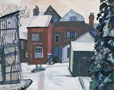 Brick House, Great Bardfield by Edward Bawden 1955 Watercolour & Gouache (Fry Art Gallery) Royal College Of Art, Landscape Paintings, Landscapes, Modern Paintings, Online Art Gallery, Illustration Art, British Artists, Buildings, Gouache