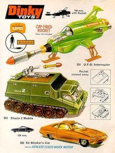 UFO page from Dinky catalogue. 70s Toys, Retro Toys, Vintage Toys, My Childhood Memories, Childhood Toys, Gi Joe, Ufo Tv Series, Thunderbirds Are Go, Corgi Toys