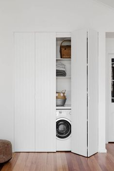 Discover the best doors for your small laundry alcove — Verity Jayne Neat and stylish bifold doors using VJ style panels, hiding a laundry. Laundry Cupboard, Utility Cupboard, Laundry Room Doors, Laundry Closet, Small Laundry Rooms, Laundry Room Storage, Laundry In Bathroom, Small Bathroom, Basement Laundry