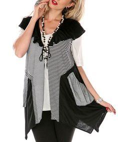 Black & White Patchwork Tunic Vest | zulily