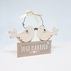 """Just Married Wooden Bird Plaque """"Just Married"""". This is a cute gift that works as a wedding or engagement gift. Add this to a printed item! Engagement Signs, Lesbian, Gay, Wooden Bird, Online Gifts, Just Married, Cute Gifts, Wedding Signs, Wedding Styles"""