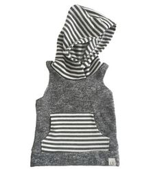 Lulu and Roo Sleeveless Hoodie in Charcoal with Grey Stripes