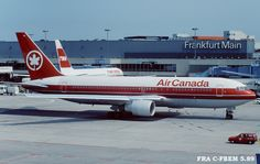 Air Canada Boeing C-FBEM at Frankfurt-Main, circa May (Photo: Courtesy of Diddi) International Airlines, Passenger Aircraft, Air Lines, Vintage Air, Civil Aviation, Bus, Cabin Design, Air Travel, Airports