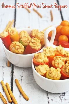 Gluten Free & Healthy Hummus Stuffed Mini Peppers appetizers at This Mama Cooks! On a Diet - thismamacooks.com