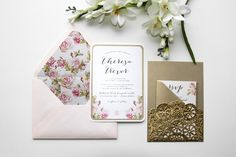 "Our ""Romantic Rose"" invitation suite, featuring a vintage rose patterned liner, and gorgeous gold doily wrapped pocket! See more here: http://www.empresspapercrafts.com/romantic-rose-gallery"