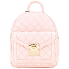 Love Moschino quilted backpack (1,000 ILS) ❤ liked on Polyvore featuring bags, backpacks, pink, polyurethane bags, light pink bag, quilted backpack, quilted bags and pink quilted bag