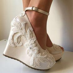 Wedding ,Wedding Wedge Shoes, Bridal Wedge Shoes,Bridal Shoes, Bridal Platform Wedges, Bridal Wedge Shoes, Ivory Wedding Shoes, Bridal Shoe by KILIGDESIGN on Etsy