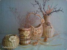 Поделка изделие Плетение Вазы-вазочки  Бумага Бумага газетная Трубочки бумажные фото 1