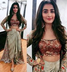 Krop top with some stylish dresses wear Indian Wedding Outfits, Indian Outfits, Western Dresses, Indian Dresses, Indian Designer Outfits, Designer Dresses, Stylish Dresses, Fashion Dresses, Mehendi Outfits