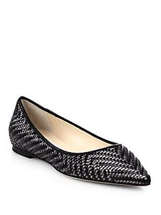 Jimmy Choo Alina Metallic Leather Woven Flats