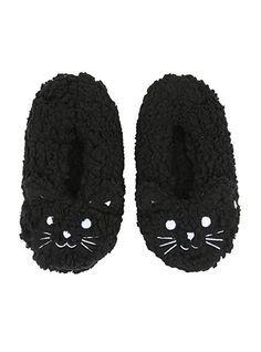 Blackheart Black Cat Cozy Slippers