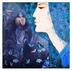 """Blue butterflies"" by jojona-1 ❤ liked on Polyvore featuring art"